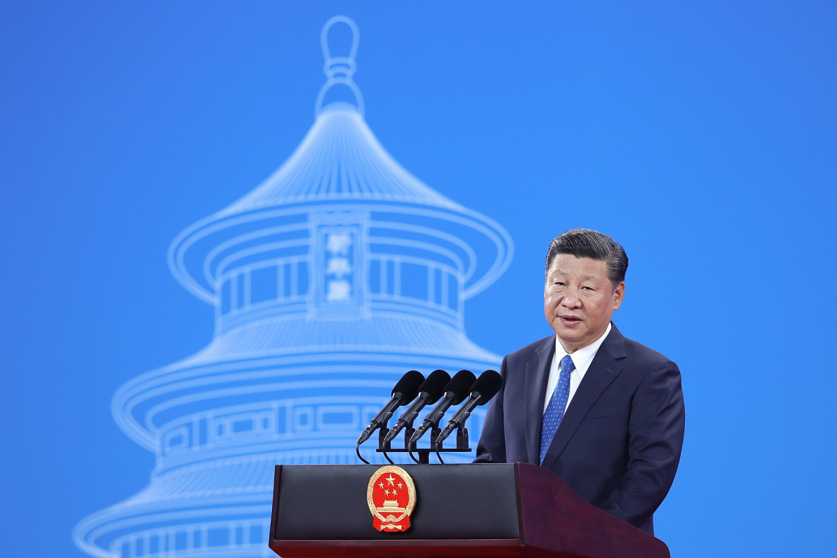 Chinese President Xi Jinping speaks during the 86th Interpol General Assembly at the Beijing National Convention Center on September 26th, 2017, in Beijing, China.
