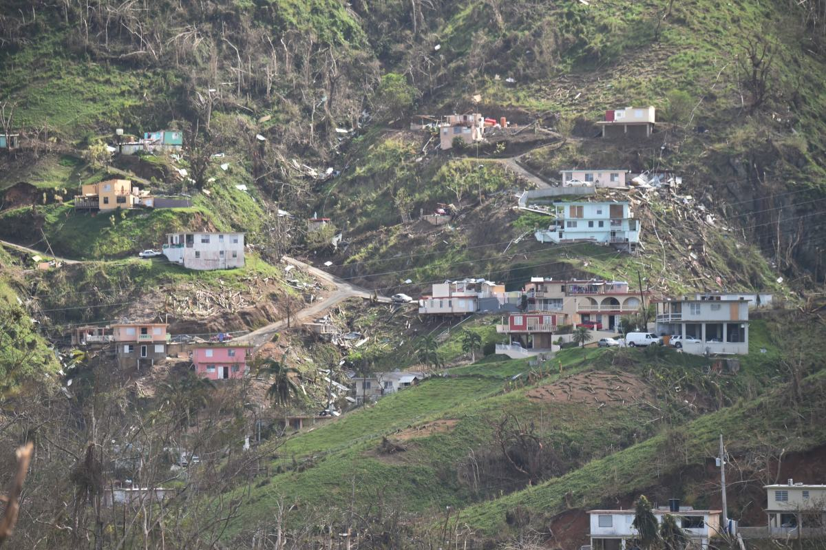 Damaged homes and vegetation during the passage of Hurricane Maria, are viewed on a mountain in Naranjito, southwest of San Juan, Puerto Rico, on September 24th, 2017.