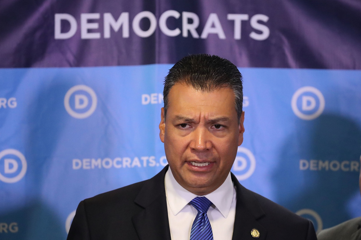California Secretary of State Alex Padilla speaks during a press conference held at the Democratic National Headquarters on July 19th, 2017, in Washington, D.C.