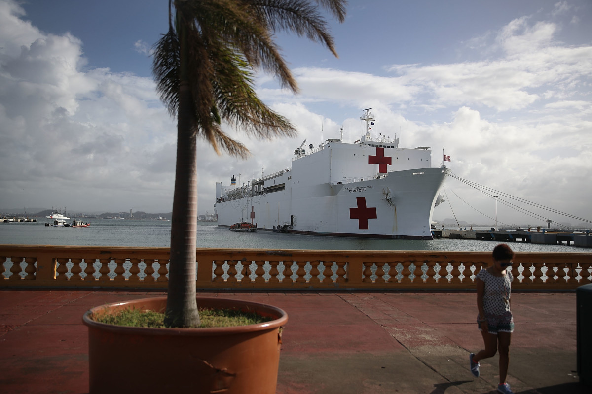 The U.S. Naval Hospital Ship Comfort in the Port of San Juan, arriving on October 3rd, 2017, after Hurricane Maria swept through the island of Puerto Rico.