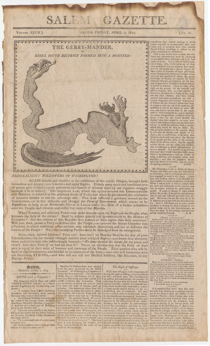 This satirical map, dated 1813, reflects the origin of the word gerrymander.