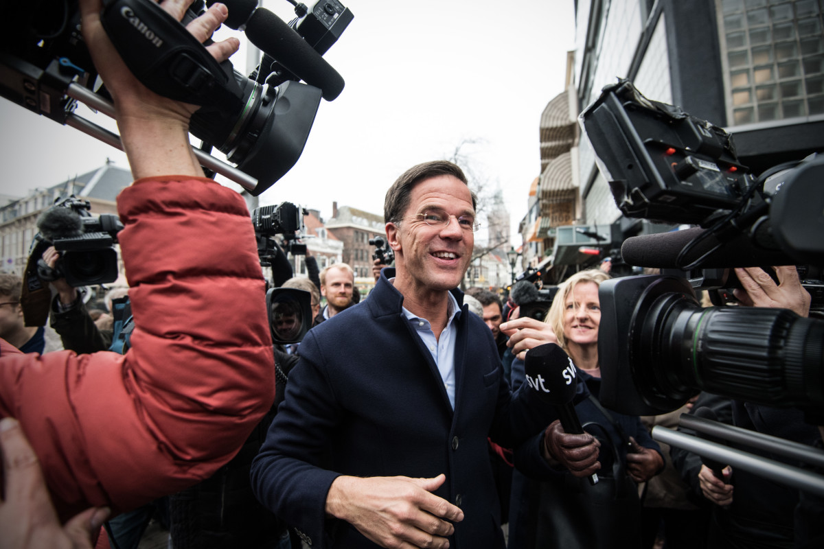 Dutch Prime Minister Mark Rutte speaks to the public on March 14th, 2017, in the Hague, Netherlands.