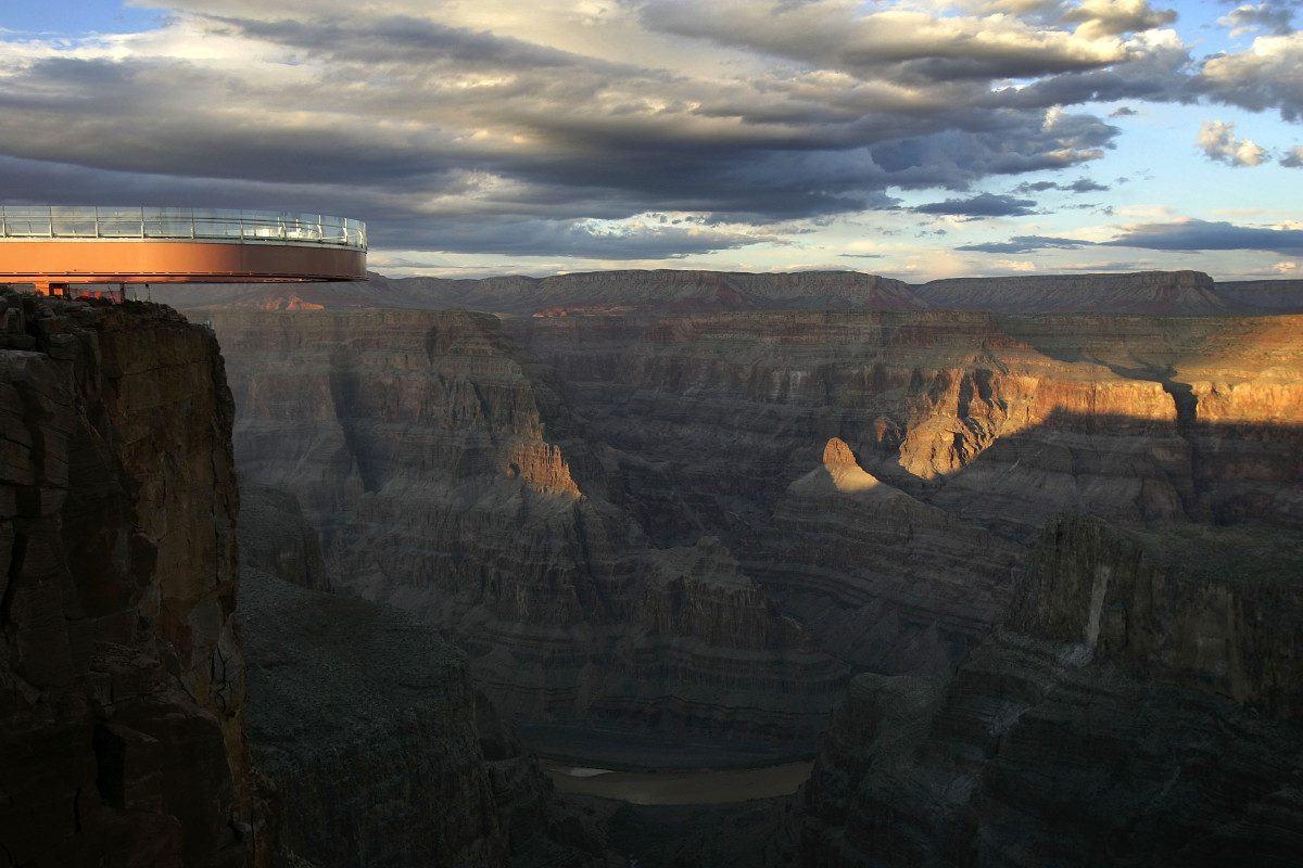The sun sets on the evening of the first official walk on the Skywalk, on March 20th, 2007, on the Hualapai Reservation at Grand Canyon, Arizona.