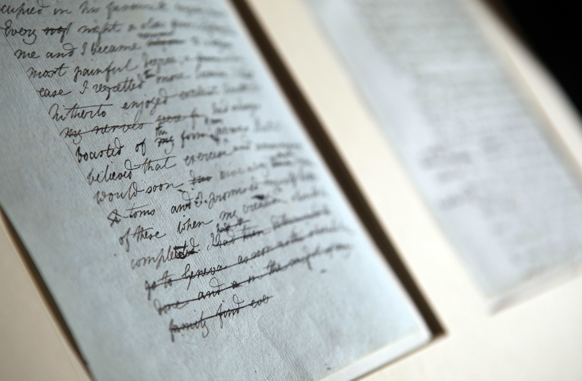 The original manuscript of Frankenstein by Mary Shelley, seen at Oxford University's Bodleian Library on November 29th, 2010, in Oxford, England.