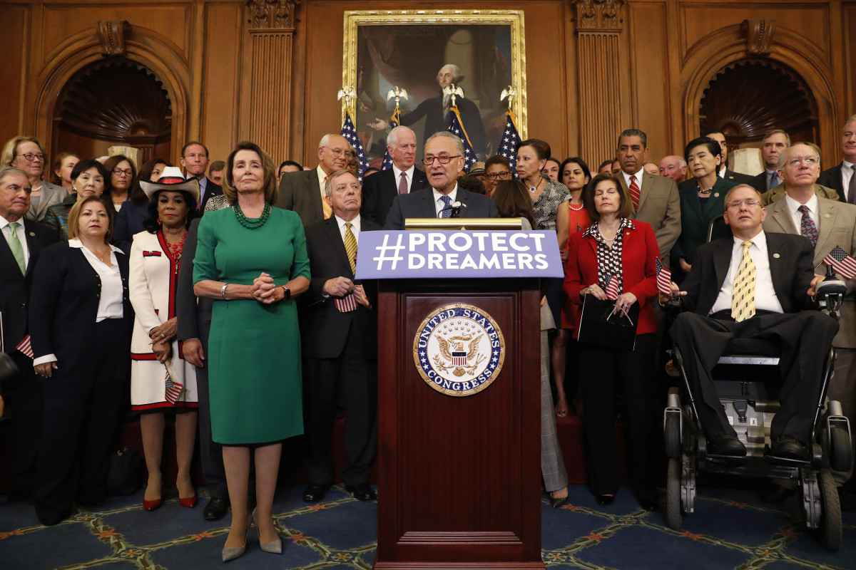 Senate Minority Leader Chuck Schumer (D-New York) speaks at a news conference about President Donald Trump's decision to end the Deferred Action for Childhood Arrivals program at the U.S. Capitol on September 6th, 2017, in Washington, D.C.