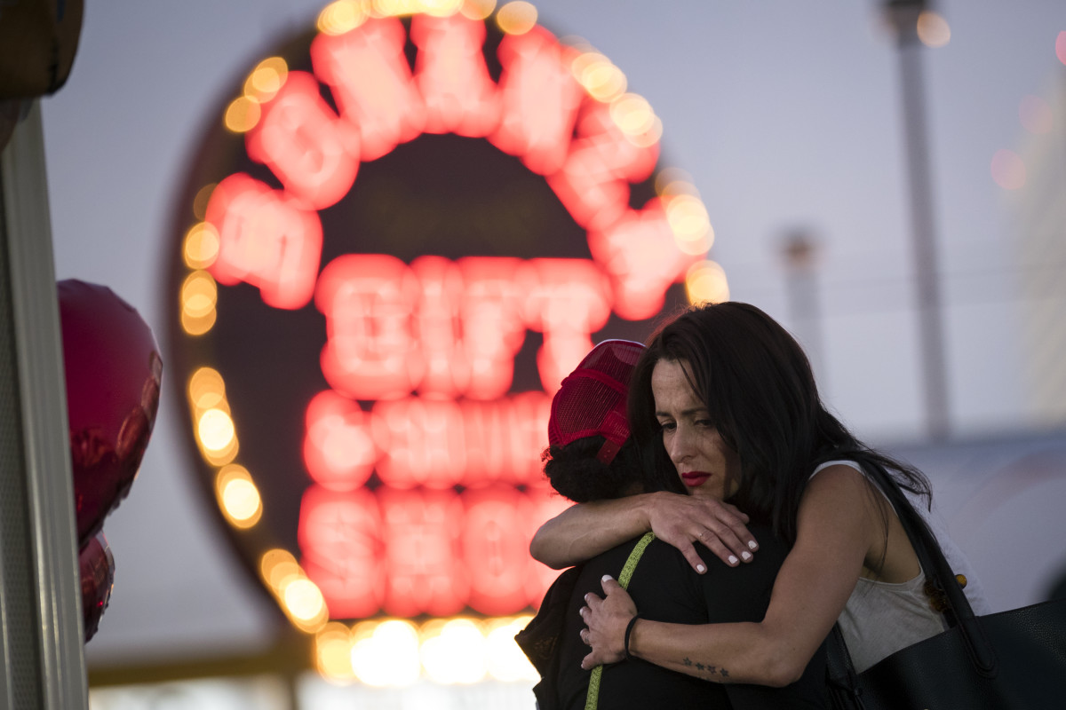 View of a makeshift memorial at the northern end of the Las Vegas Strip on October 4th, 2017, in Las Vegas, Nevada. On October 1st, Stephen Paddock killed at least 58 people and injured more than 450 after he opened fire on a large crowd at the Route 91 Harvest country music festival.
