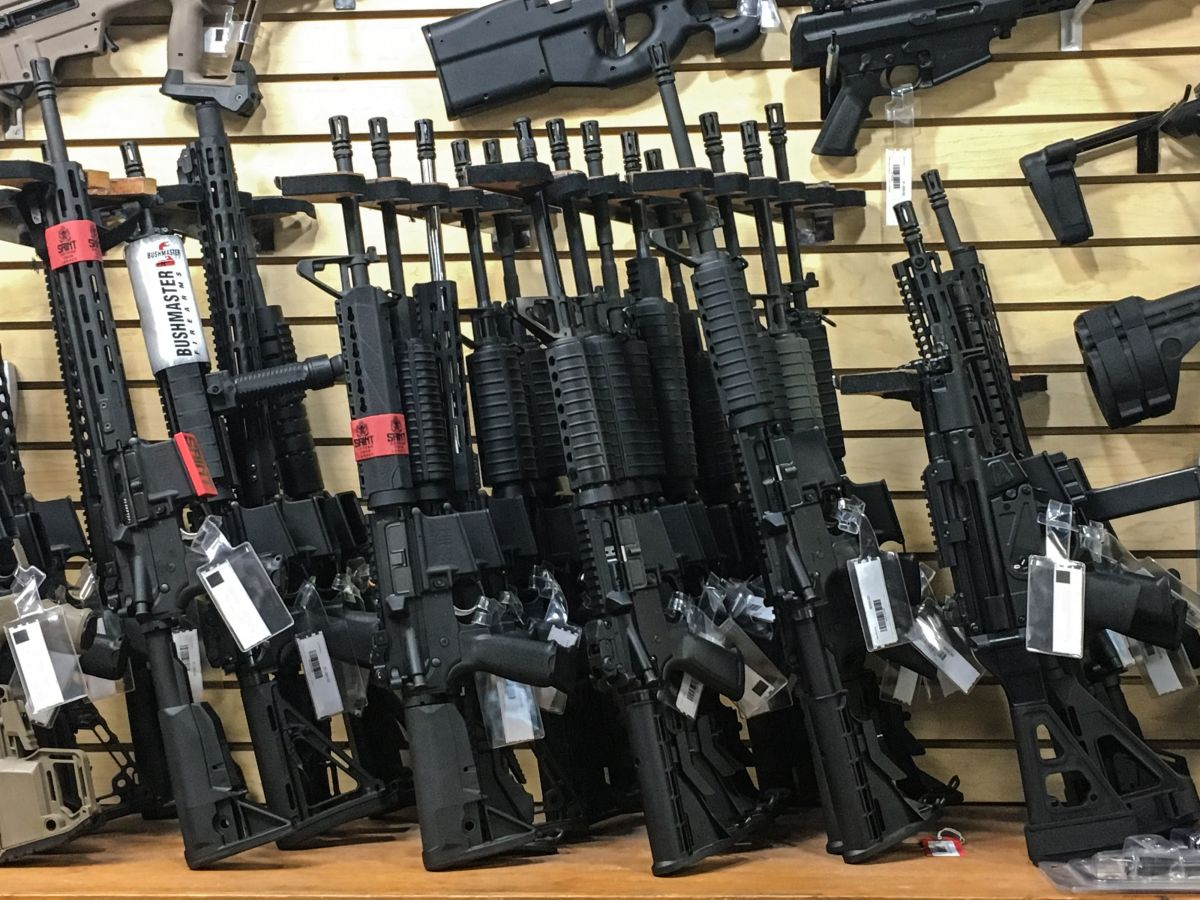 Semi-automatic rifles are seen for sale in a gun shop in Las Vegas, Nevada, on October 4th, 2017.