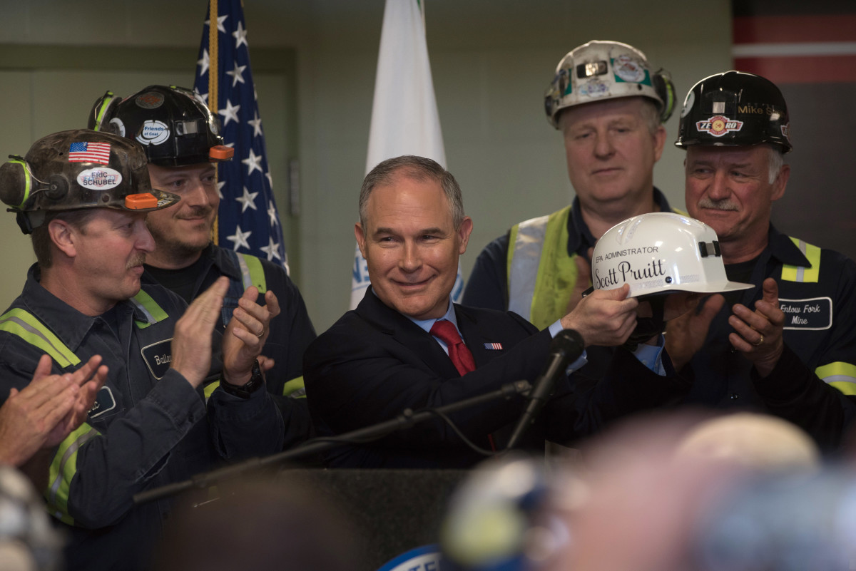 U.S. Environmental Protection Agency Administrator Scott Pruitt holds up a miner's helmet that he was given after speaking with coal miners at the Harvey Mine on April 13th, 2017, in Sycamore, Pennsylvania.