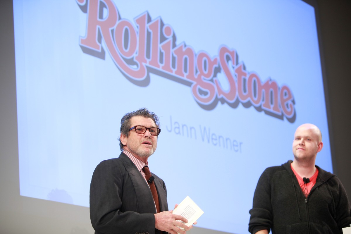 Rolling Stone Founder Jann Wenner and Spotify founder Daniel Ek on November 30th, 2011, in New York City.