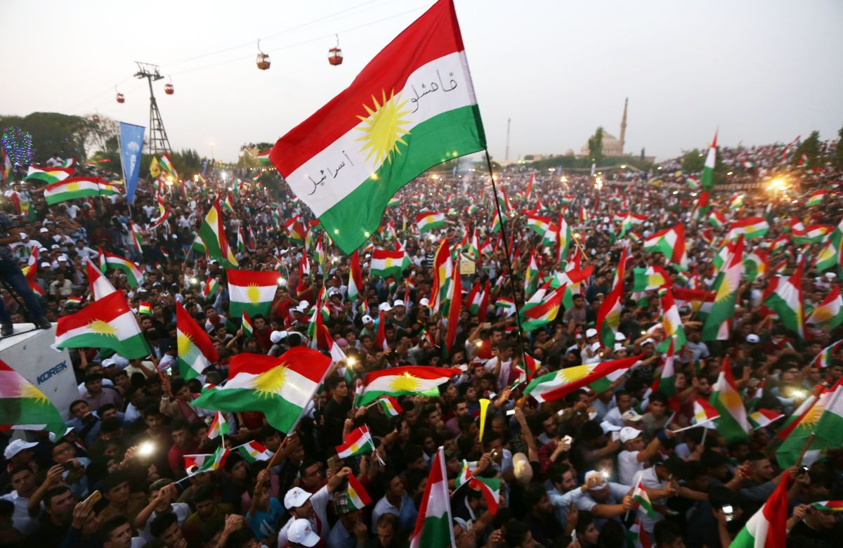 Iraqi Kurds fly Kurdish flags during an event to urge people to vote in an upcoming independence referendum in Arbil, the capital of the autonomous Kurdish region of northern Iraq, on September 16th, 2017.