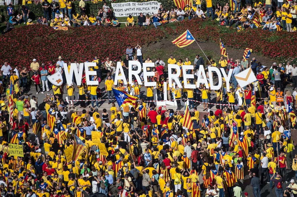 Pro-Independence catalans gather in Catalunya square during a rally in Barcelona, Spain.