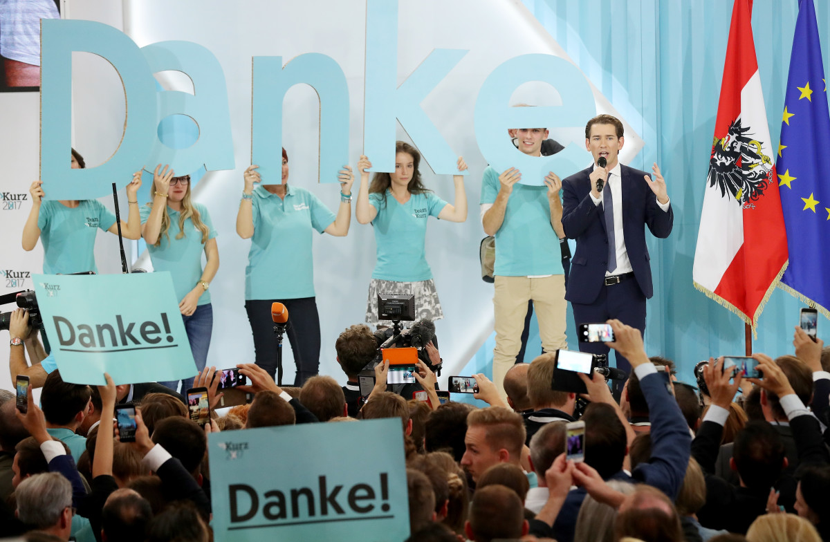 Sebastian Kurz (R), Austrian foreign minister and leader of the conservative Austrian People's Party, speaks to supporters after initial results give the party a first place finish and 31.4 percent of the vote in Austrian parliamentary elections on October 15th, 2017, in Vienna, Austria.