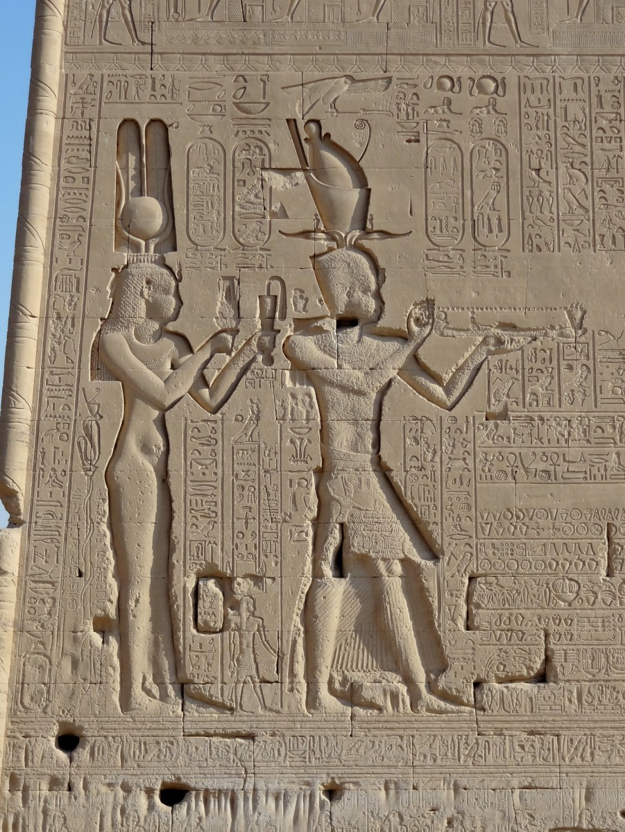 A relief of Ptolemaic Queen Cleopatra VII and Caesarion.