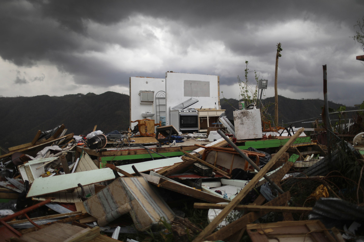 The remnants of a destroyed home stand more than two weeks after Hurricane Maria hit the island on October 6th, 2017, in Morovis, Puerto Rico.