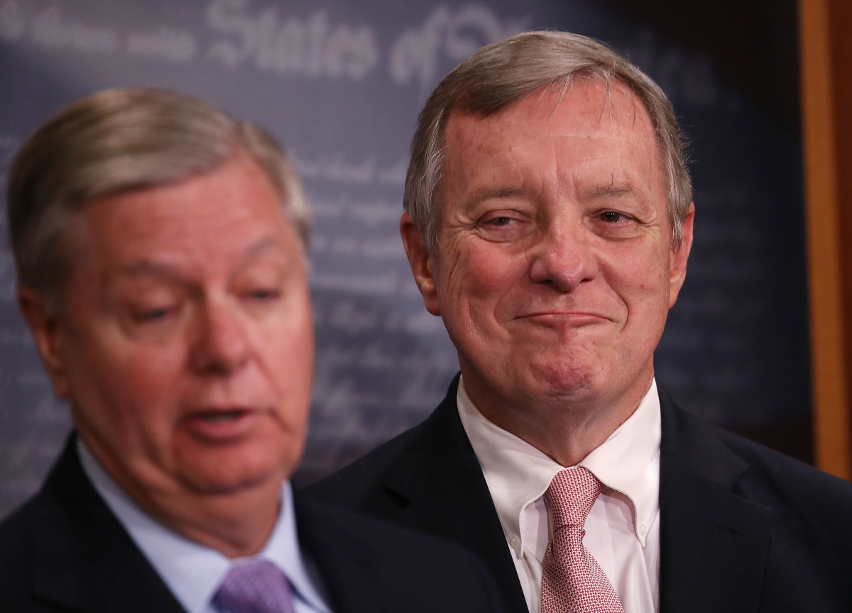 Senator Lindsey Graham and Senate Minority Whip Dick Durbin attend a press conference about the Dream Act on July 20th, 2017, in Washington, D.C.