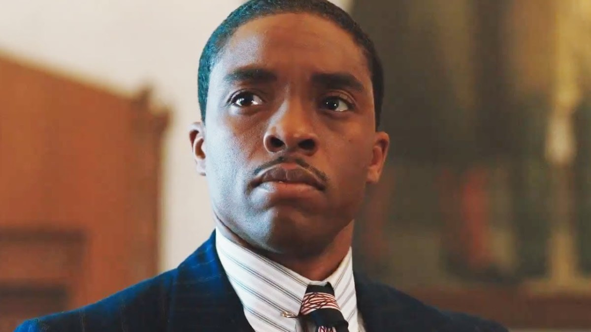 Chadwick Boseman plays Thurgood Marshall in the 2017 movie, Marshall.