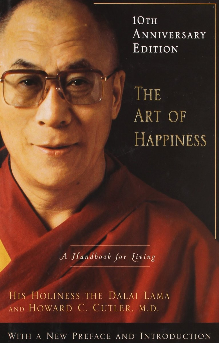 A book cover for 'The Art of Happiness: A Handbook for Living.'