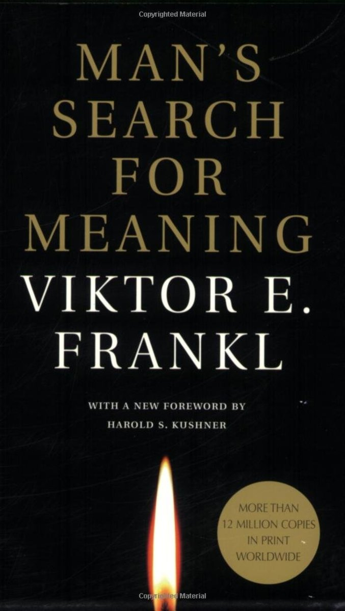 A book cover for 'Man's Search For Meaning' by Viktor E. Frankl.
