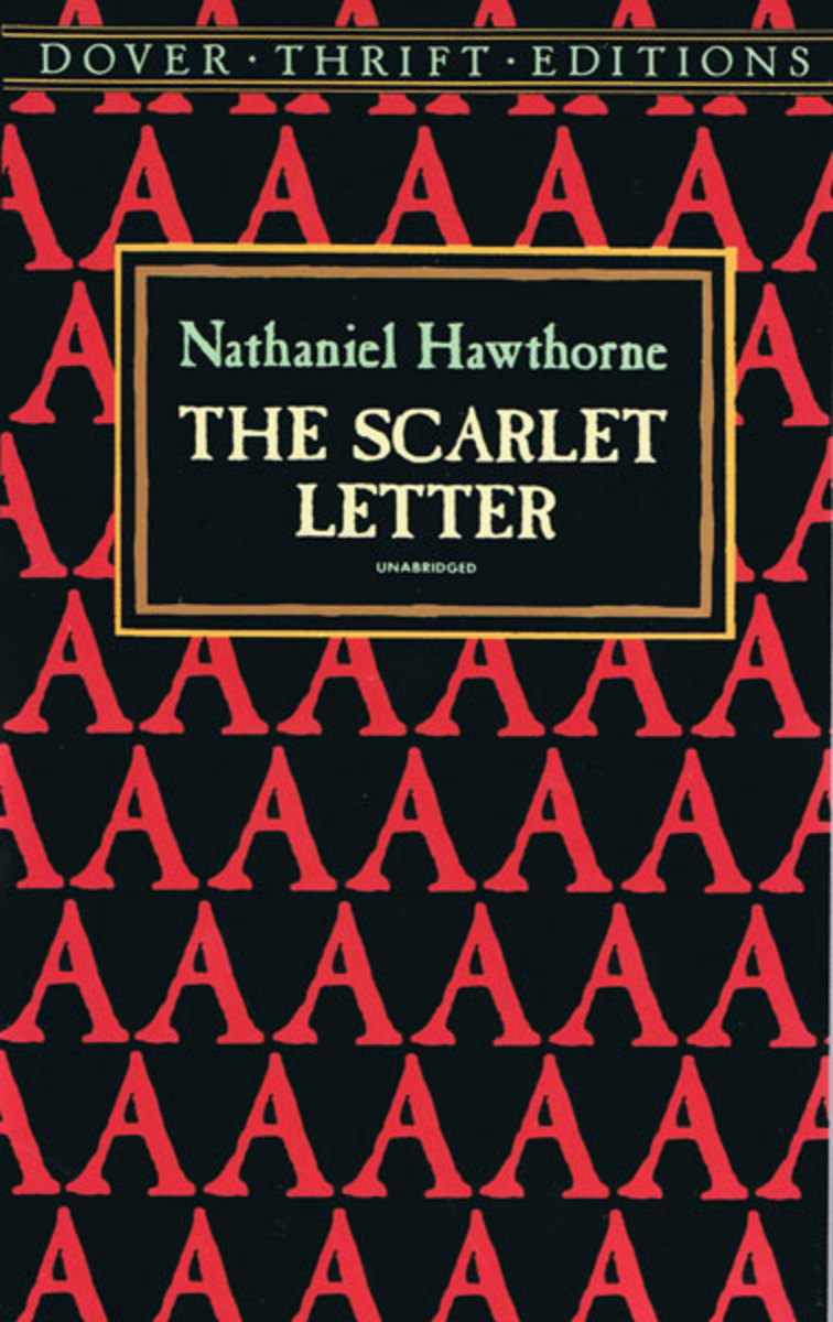 A book cover for The Scarlet Letter, by Nathaniel Hawthorne.