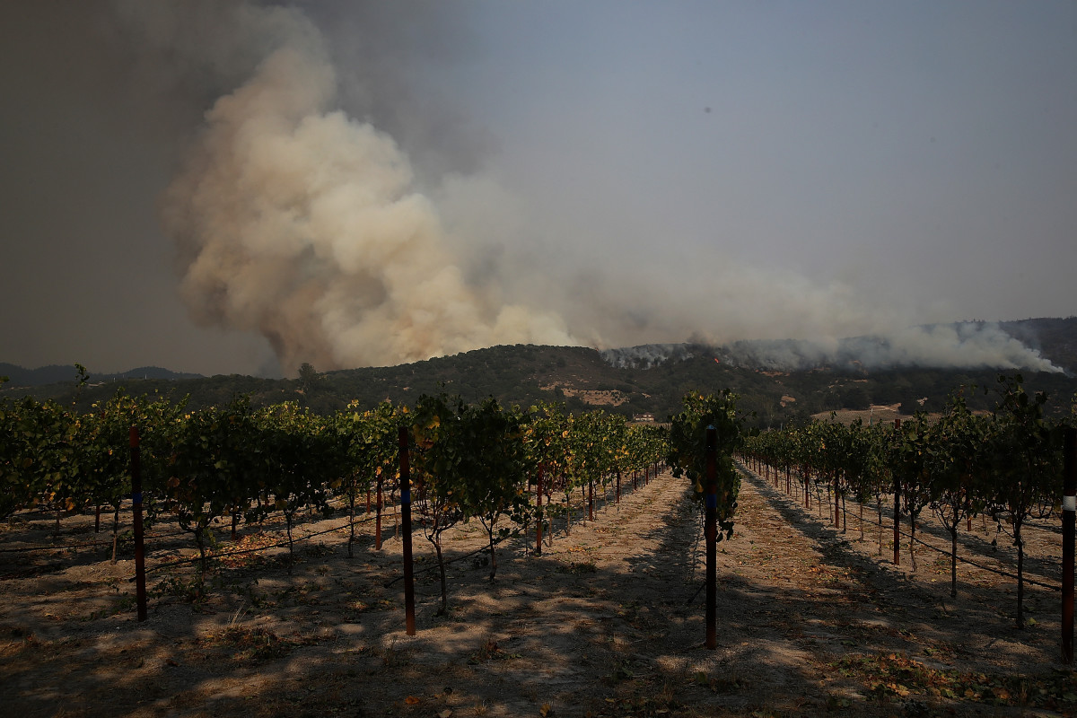 A wildfire approaches Gundlach Bundschu winery on October 9th, 2017, in Sonoma, California.