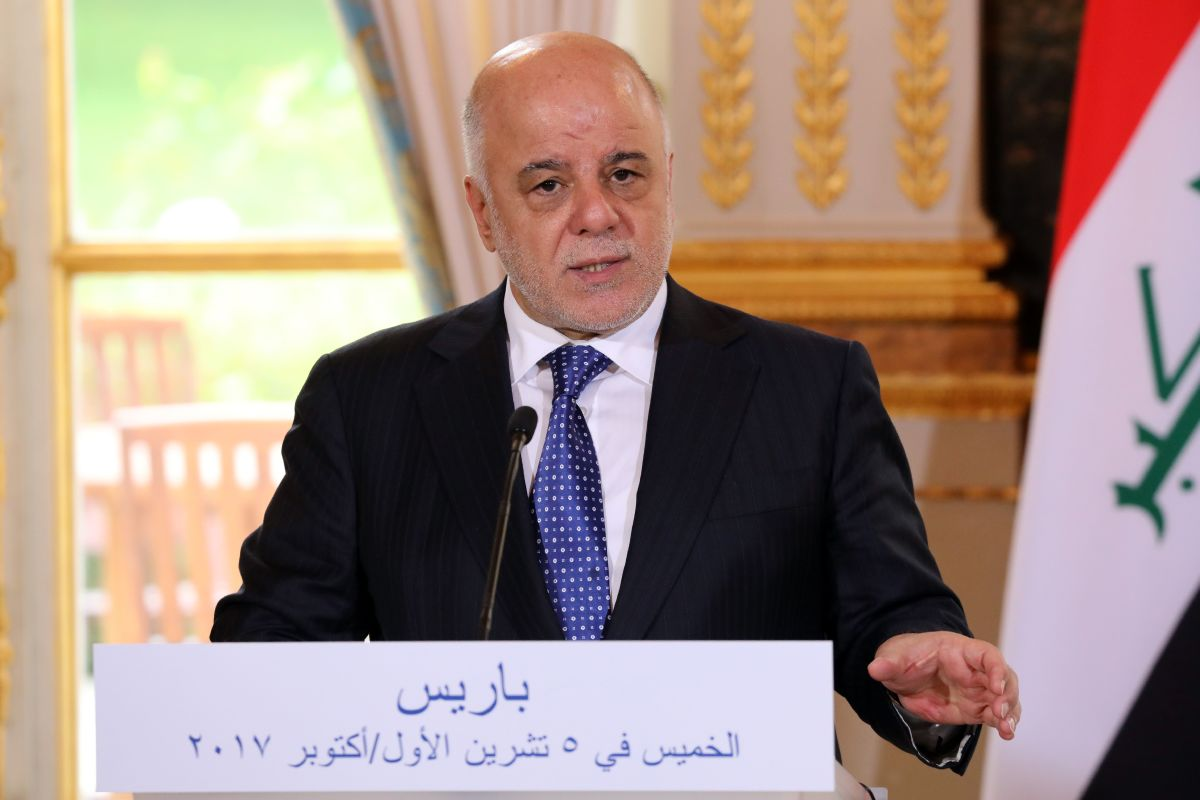 Iraqi Prime Minister Haider Abadi gives a press conference on October 5th, 2017.