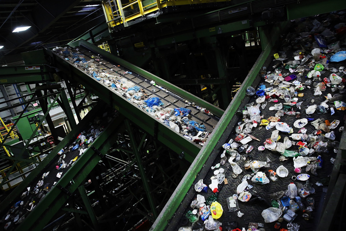 Recycling is viewed at the Sims Municipal Recycling Facility, an 11-acre recycling center on the Brooklyn waterfront on April 22nd, 2015, in New York City.