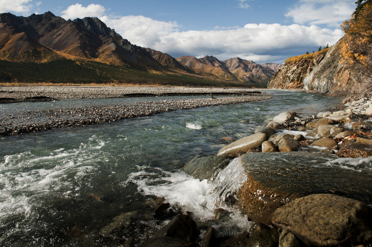 The Toklat River, located in central Alaska.