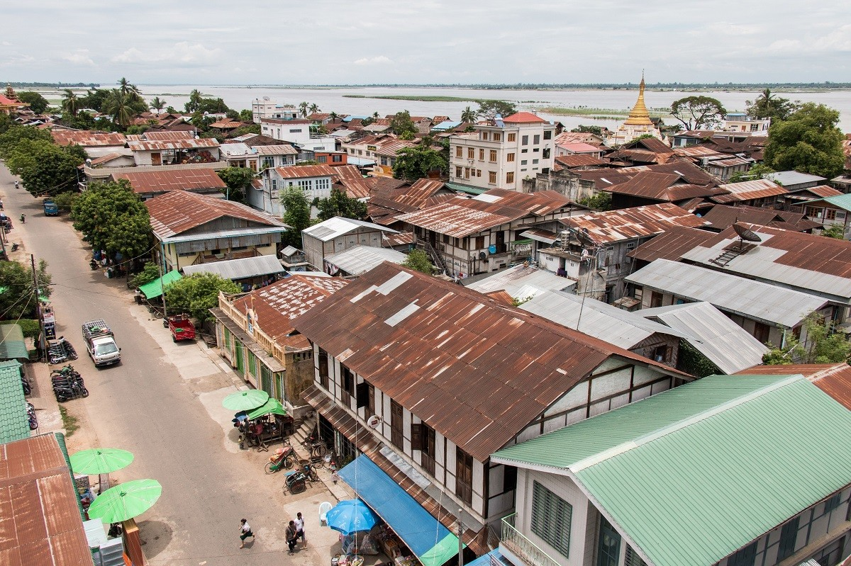 A birds-eye view of Katha, a town along the Irrawaddy River in northern Myanmar.
