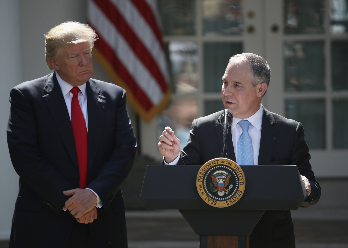 Scott Pruitt speaks in the Rose Garden at the White House after President Donald Trump announced his decision to pull the United States out of the Paris climate agreement, June 1st, 2017, in Washington, D.C.