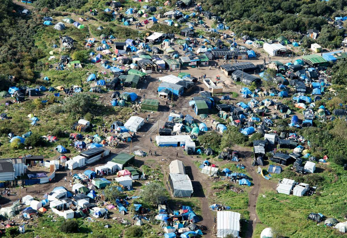 "An aerial picture taken in Calais, France, shows ""the Jungle."""