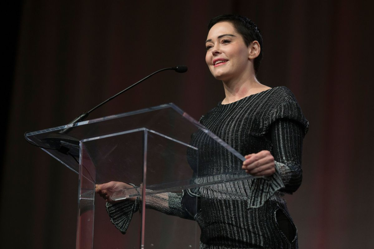 Actress Rose McGowan speaks to an audience at the Women's March/Women's Convention in Detroit, Michigan, on October 27th, 2017.