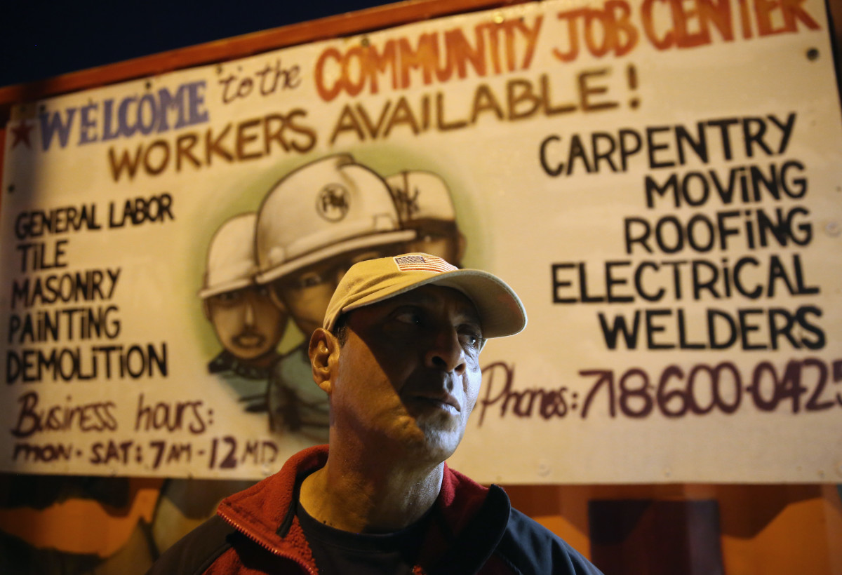 A Colombian immigrant stands outside the Bay Parkway Community Job Center on September 28th, 2013, in Brooklyn.