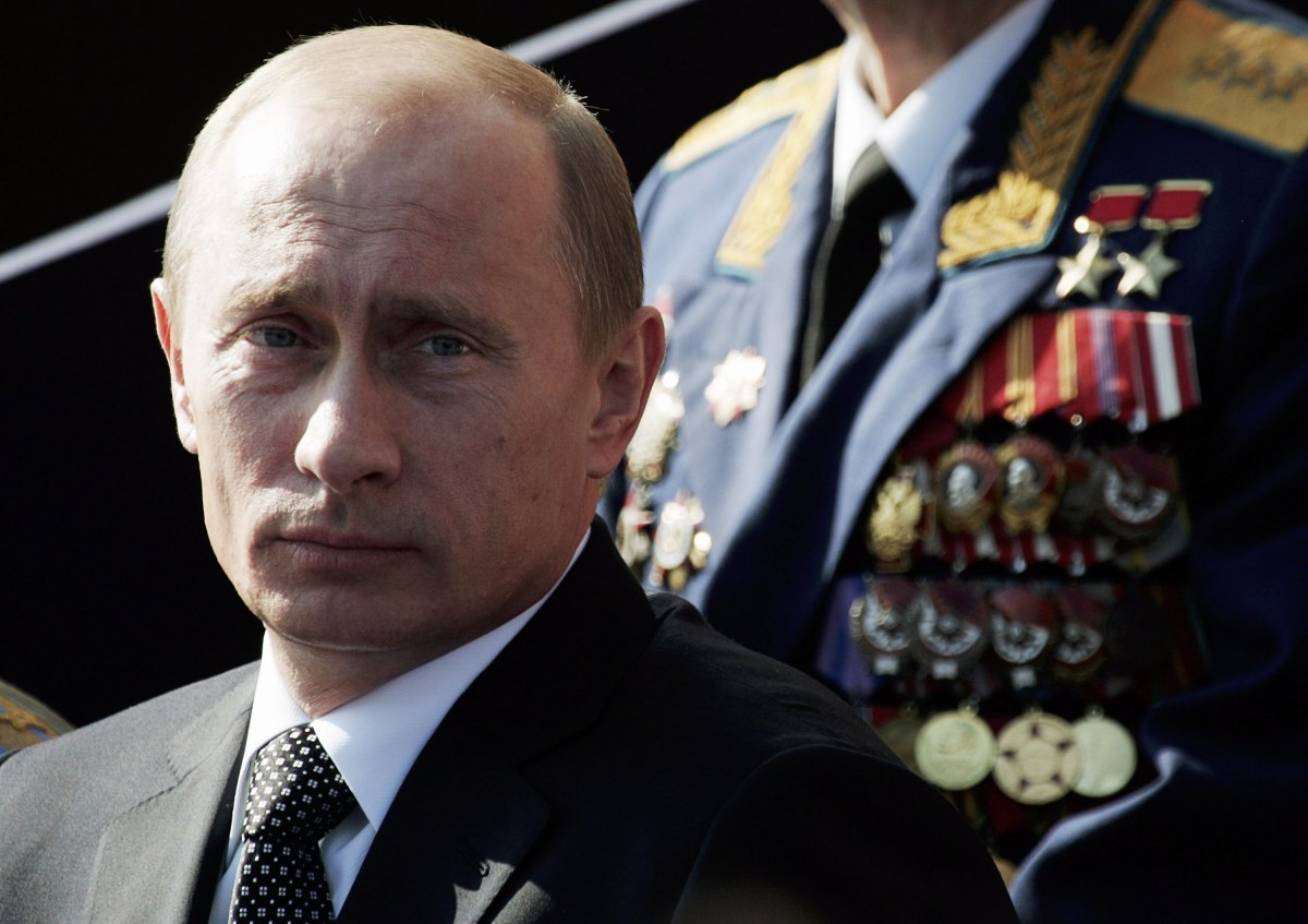 Russian President Vladimir Putin attends the annual military parade at Red Square on May 9th, 2006, in Moscow, Russia.