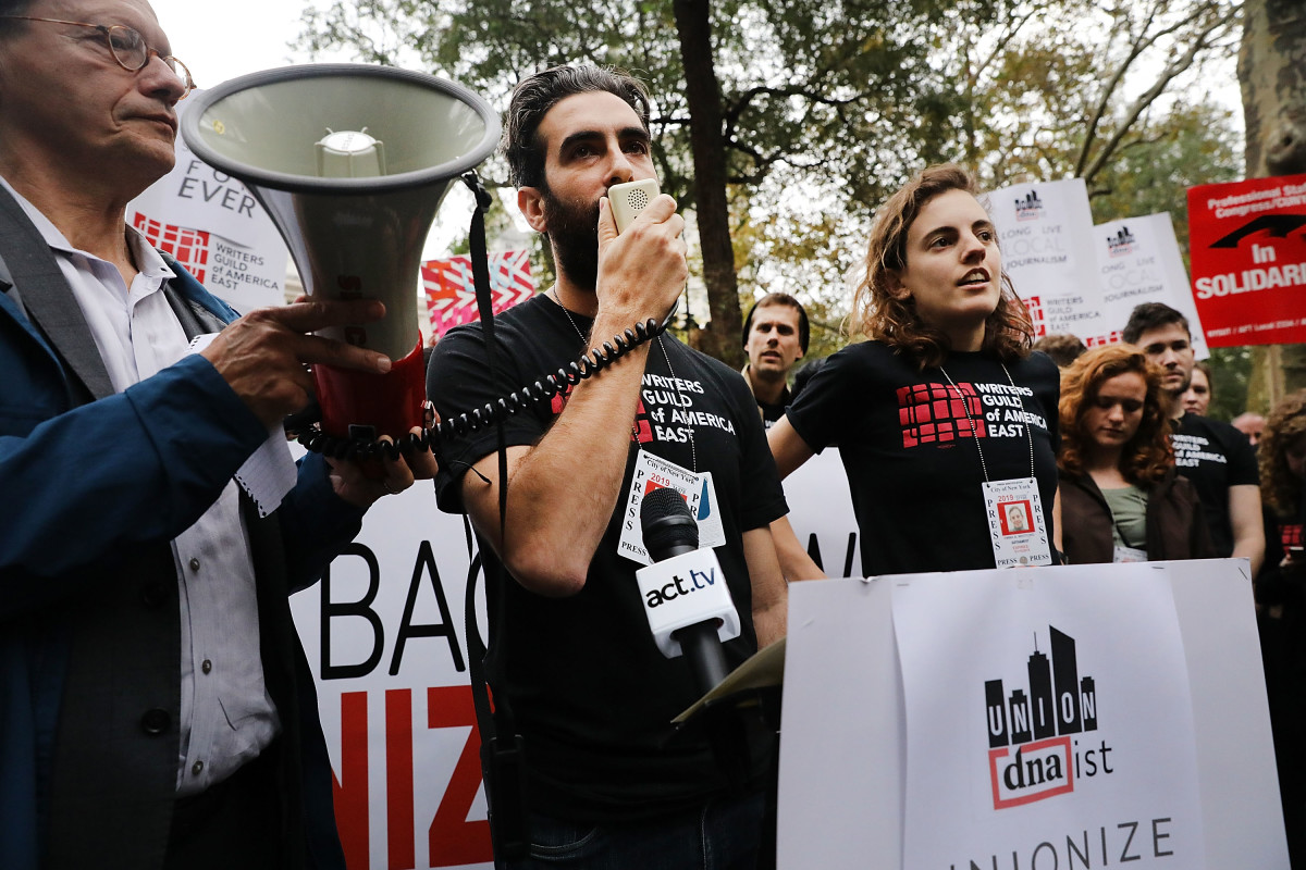 Labor activists join DNAinfo and Gothamist employees in rallying in support of the journalists who lost their jobs after they voted to form a union at the local news websites on November 6th, 2017, in New York City.