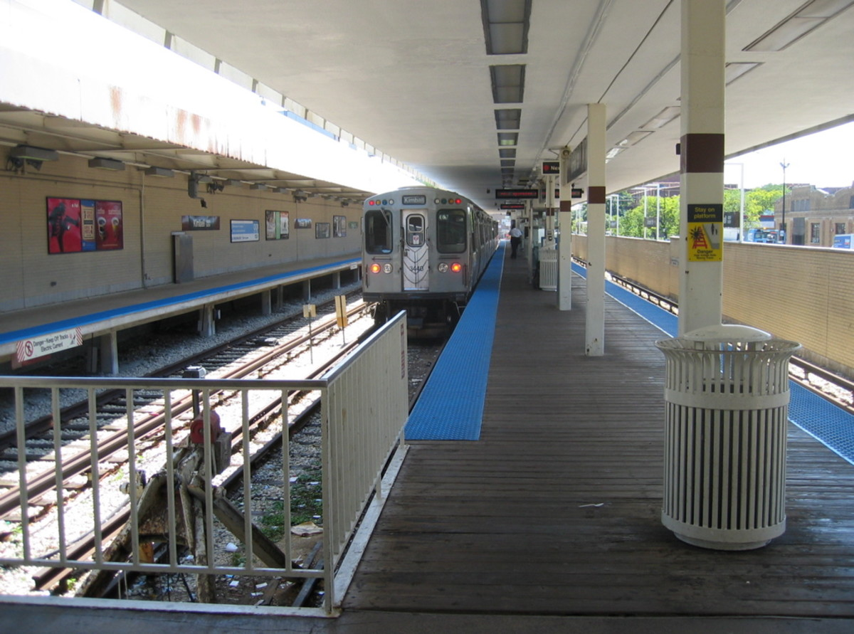 The Kimball station at the terminus of the CTA Brown Line, in Albany Park, Chicago.