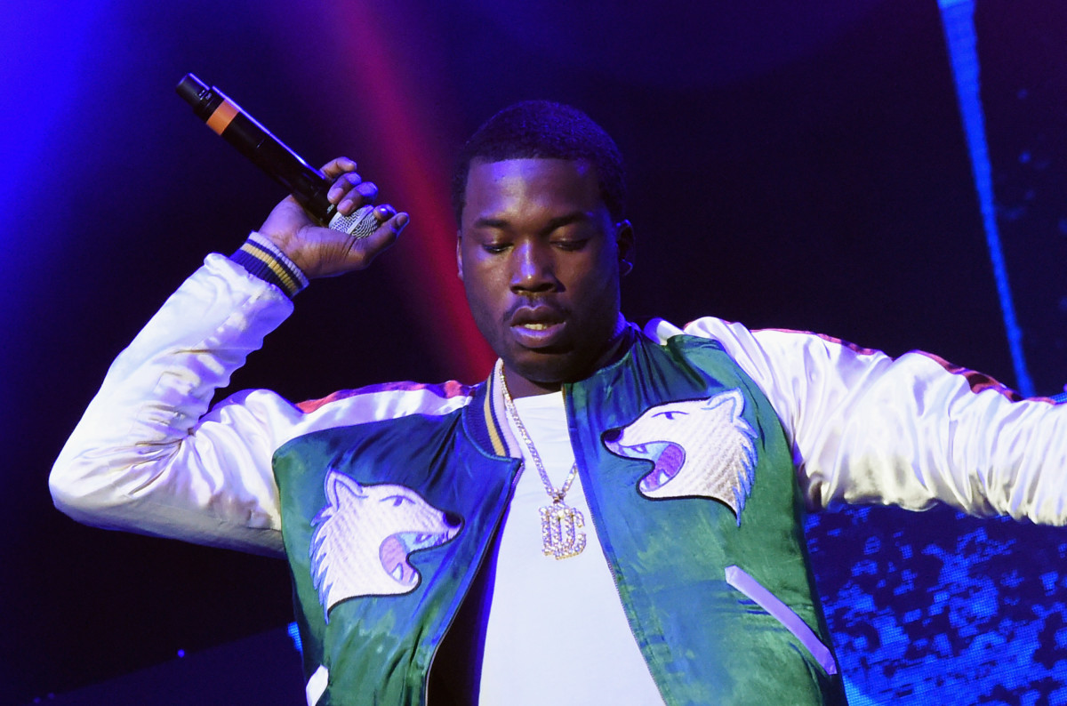 Meek Mill performs during V-103 Live Pop Up Concert at Philips Arena on March 25th, 2017, in Atlanta, Georgia.