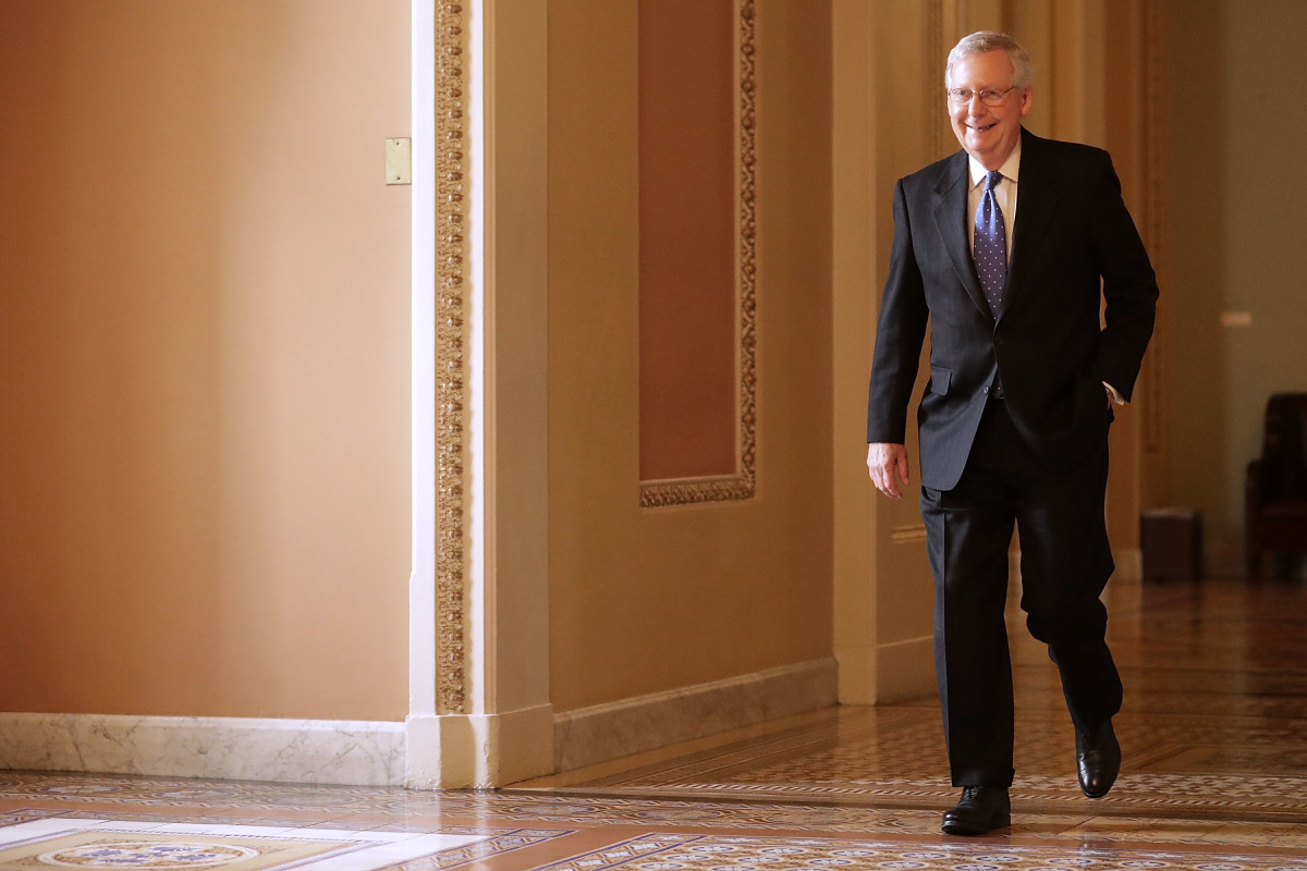 Senate Majority Leader Mitch McConnell heads to his office after leaving the Senate floor on November 9th, 2017, in Washington, D.C.