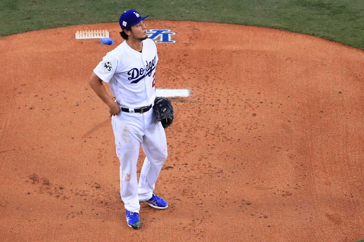 Yu Darvish at the mound in game seven of the World Series at Dodger Stadium on November 1st, 2017, in Los Angeles, California.