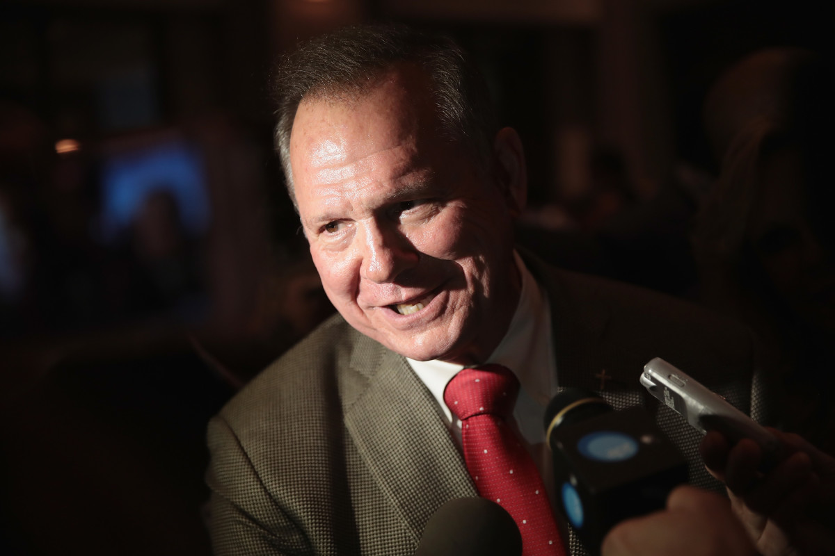 Roy Moore speaks to reporters at a primary election-night rally on September 26th, 2017, in Montgomery, Alabama.
