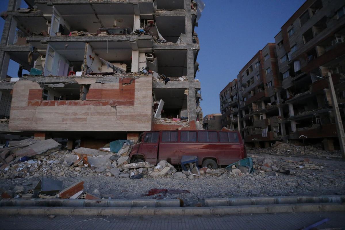 High-rise buildings sustain damage at Sarpol-e Zahab in Iran's Kermanshah province on November 13th, 2017.
