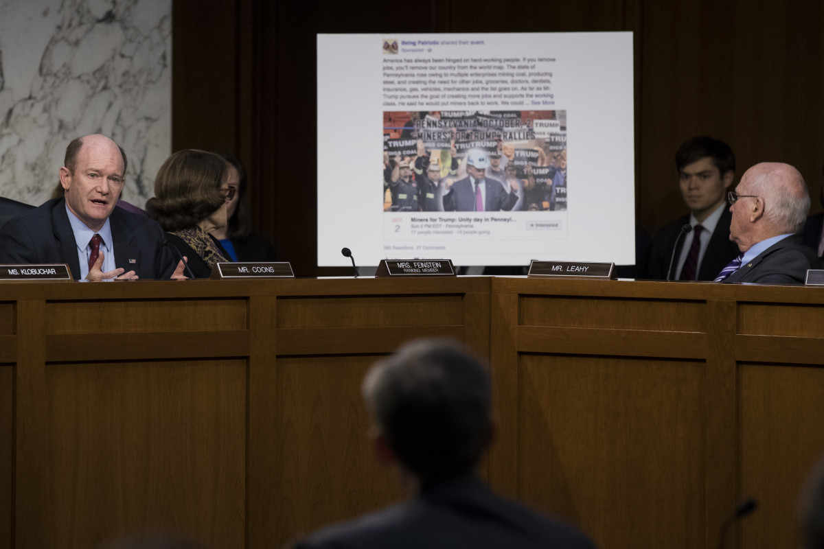 A Facebook event page featuring a Miners for Trump rally created by Russian operatives is displayed during a Senate Judiciary Subcommittee on Crime and Terrorism hearing on October 31st, 2017, in Washington, D.C.