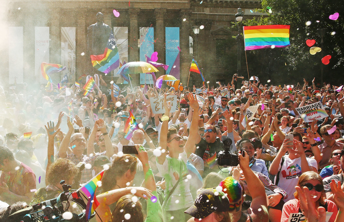The crowd celebrates as the result of a national postal survey on same-sex marriage is announced at the State Library of Victoria on November 15th, 2017, in Melbourne, Australia. Now that Australians have voted to legalize same-sex marriage, the process to change current laws will move to the Australian Parliament.