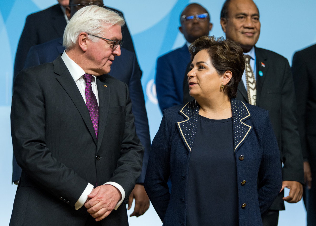 German President Frank-Walter Steinmeier and Patricia Espinosa, the U.N.'s top climate diplomat, at the COP23 climate summit on November 15th, 2017.