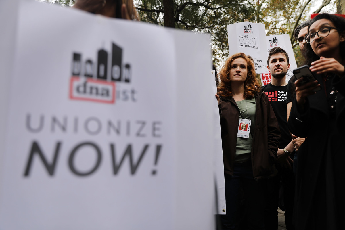 Writers, journalists, and labor activists attend a November 6th rally in New York City to support the DNAinfo and Gothamist employees who lost their jobs after they voted to form a union.