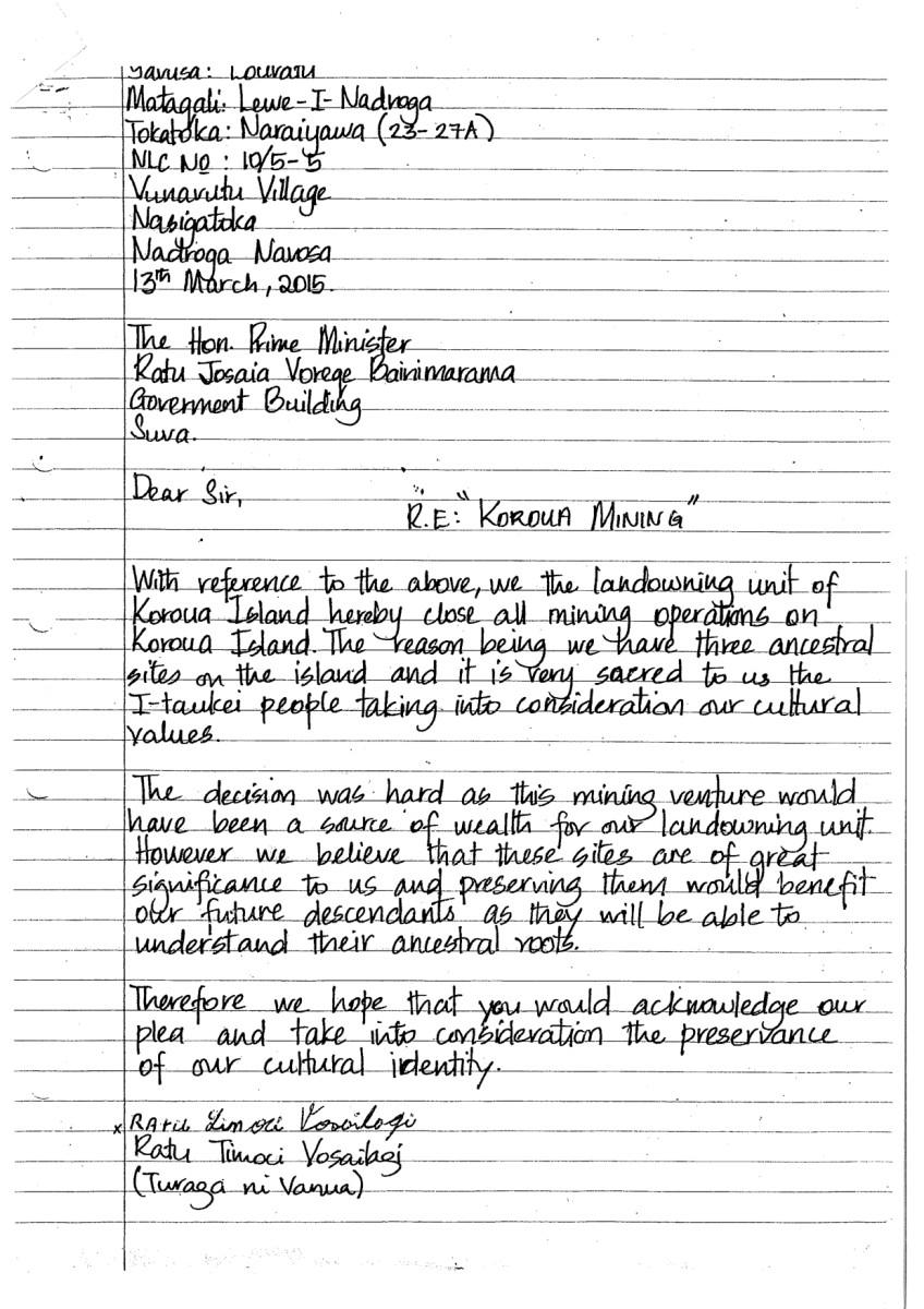 Koroua Island I-Taukei letter mining