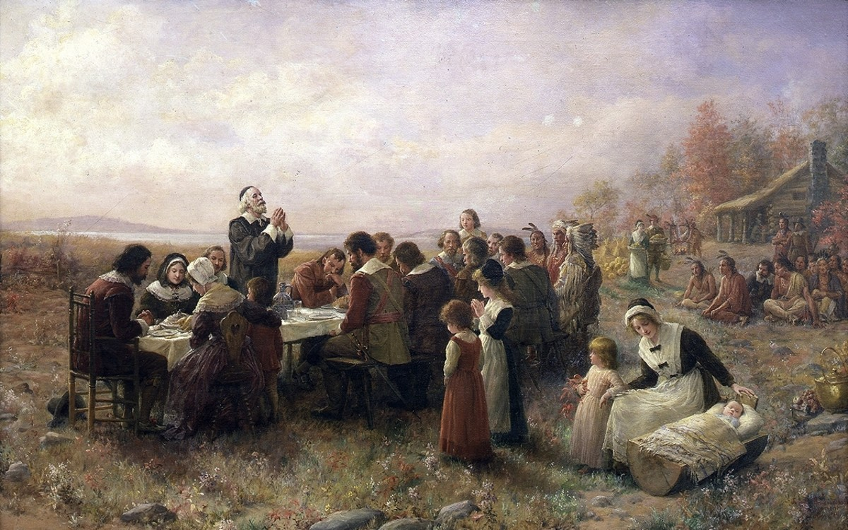 The First Thanksgiving at Plymouth, by Jennie A. Brownscombe, 1914.