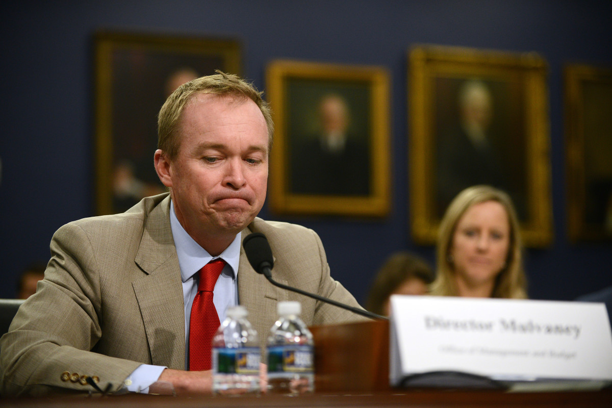 Mick Mulvaney testifies during a Financial Services and General Government Subcommittee hearing on the budget for the Office of Management and Budget on Capitol Hill.