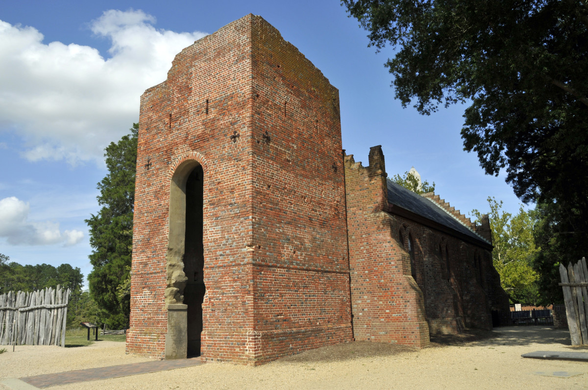 The ruined tower of the Jamestown Church, in Jamestown, Virginia.