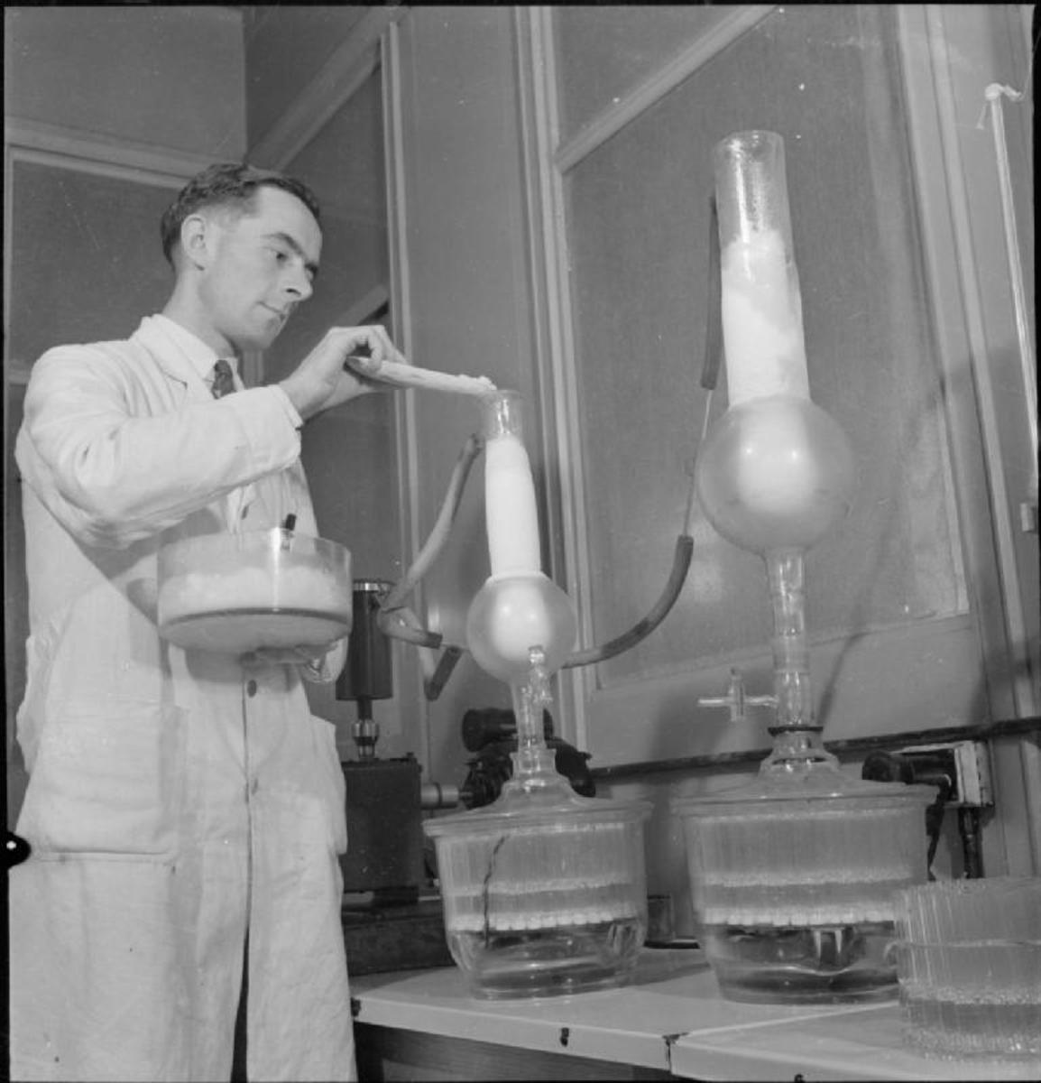 A technician preparing penicillin in 1943.