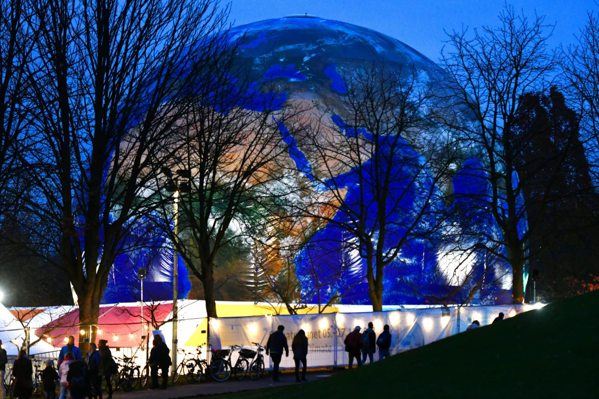 A mock-up of Earth is displayed at Rheinaue Park during the 2017 COP23 climate talks in Bonn, Germany.